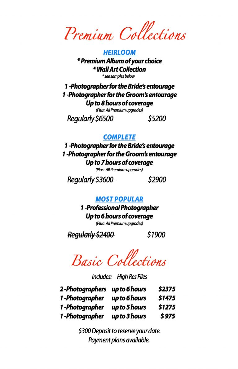 The cost to hire a professional wedding photographer